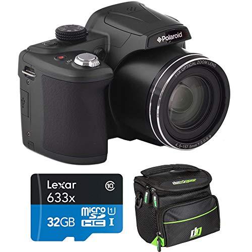 Polaroid 18MP 50x Zoom Instant Digital Camera with 3-inch TFT (Black) IX5038-BLK-INT-4 Bundle w/Deco Gear Camera Bag Case + Lexar High-Performance 633x microSDHC/microSDXC UHS-I 32gb Memory Card